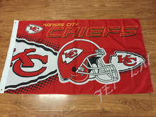 free shipping Kansas City Chiefs PHelmet flag 3ftx5ft Banner 100D Polyester Flag metal Grommets(China)