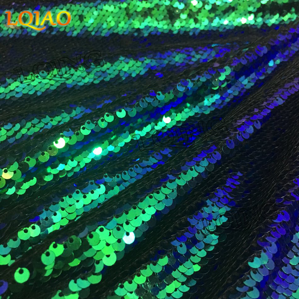 green black reversible sequin fabric-003