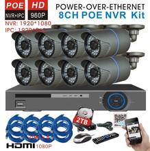 CCTV 8ch POE 1.3mp 960P Network Security IP Camera 8channel 1080p NVR System 8ch POE NVR Kit home video surveillance system 2TB