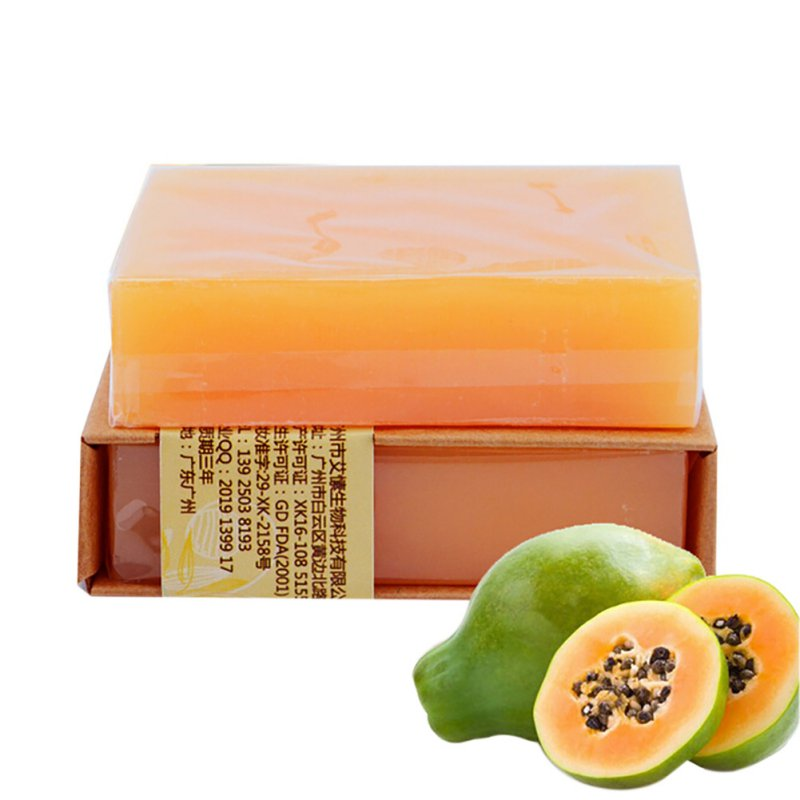 Natural Organic Herbal Green Papaya Whitening Handmade Soap Lightening Skin Remove Acne Moisturizing Cleansing Bath Soap L428(China (Mainland))