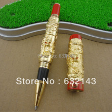 JINHAO GOLDEN AND RED TWO DRAGON PLAY PEARL ROLLER BALL PEN CRYSTAL