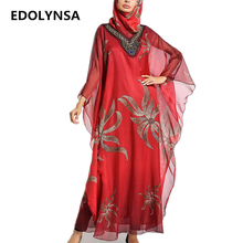Red Chiffon Dubai Abaya With Scarf Muslim Abaya Dresses Plus Size Kaftan Maxi Dress Sexy V-neck Womens Clothing Soft Robe #D350(China)
