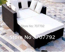 Hot sale rattan wicker outdoor lounge bed(China)