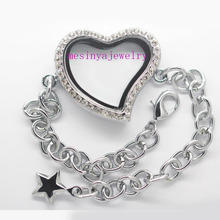 10pcs expensive genuine czech crystal curved heart bling glass locket bracelet(China)