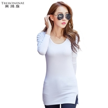 TRERONINAE O-neck undershirt women knitted t-shirt female long top sexy 2017spring autumn plus size long sleeve solid tee shirt(China)