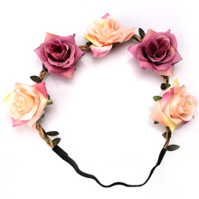 M MISM Hot Sale  Bohemian Style Women Bride Flowers Headband Rose Floral Crown Hairband Elastic Beach Hair Accessories