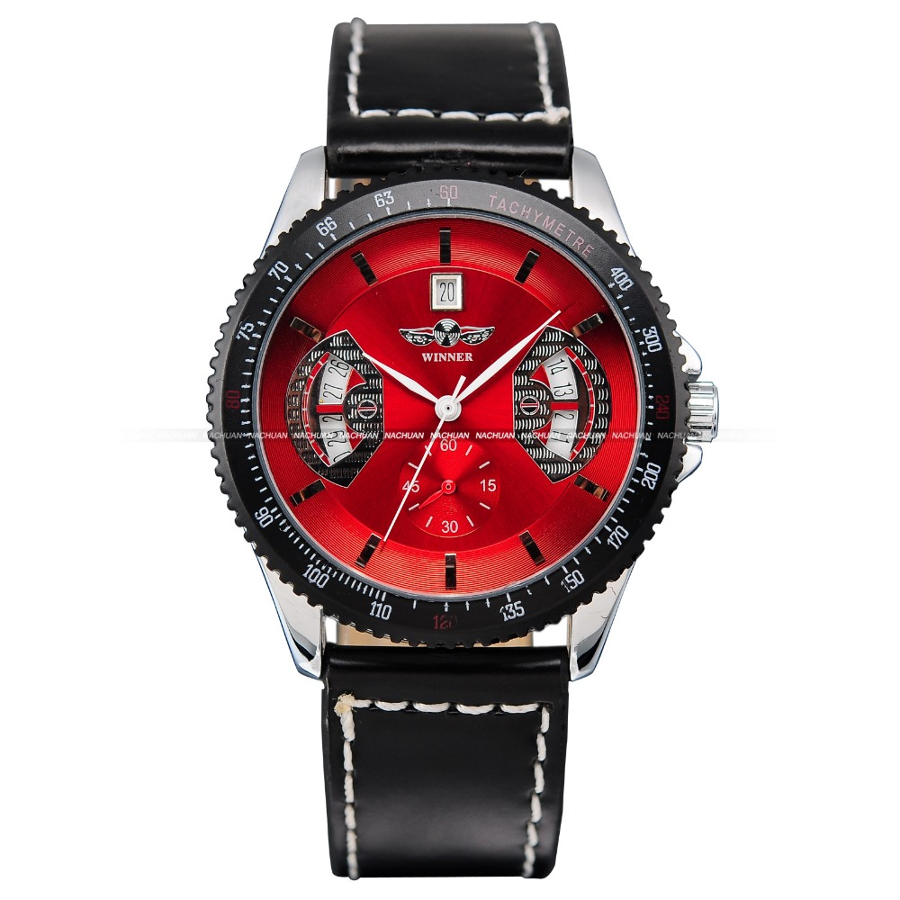Brand New Winner Mens Military Army Automatic Mechanical Date Day Display Red Dial Leather Band Analog Sport Wrist Watch/ PMW009<br>