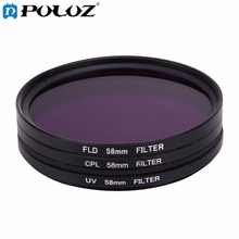 For Go Pro Accessories 3 in 1 58mm Lens Filter (CPL + UV + FLD / Purple) for GoPro HERO 4 for Xiaomi Xiaoyi Sport Action Camera