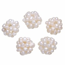 YYW Handmade Charm Natural Real White 15-20mm Round Flower Ball Cluster Cultured Freshwater Pearl Beads DIY Perles Bijoux Women(China)