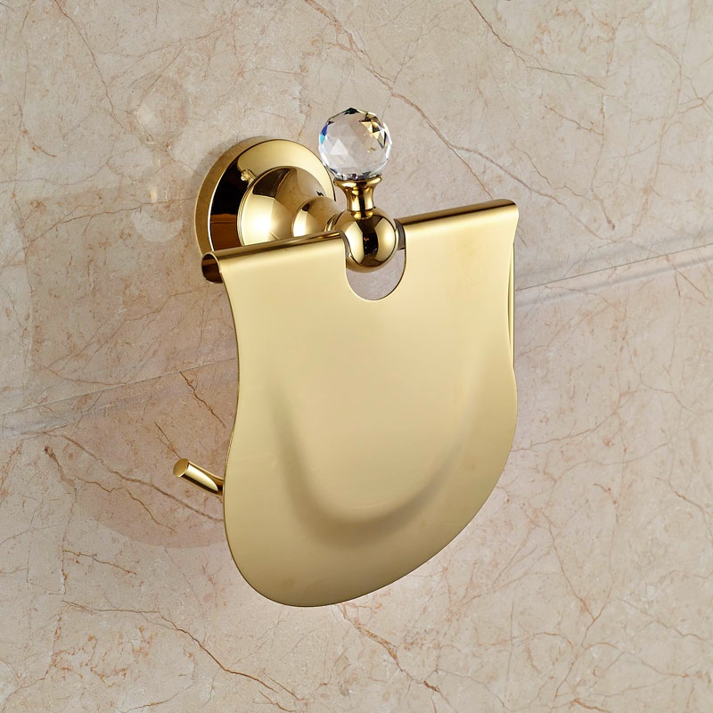 Wall Mounted Golden Finish Toilet Paper Holder With Crystal Paper Holder<br>
