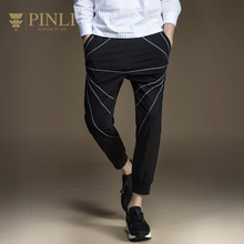Pinli Sale Midweight Mid Skinny Products In The Summer Of 2017 New Men's Casual Foot Knitting Pants Nine Minutes B171417178(China)