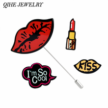 "QIHE JEWELRY 4pcs/set Lipstick Sexy Red Lips ""I'm So Cool""Multiple Pins Lapel Pin Tie Tack Collar Suit Decoration For Women Girl(China)"