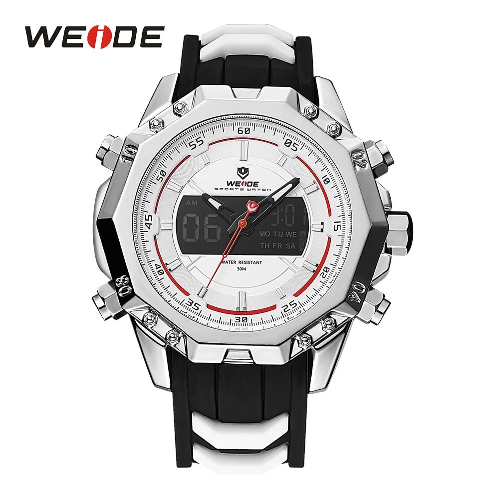WEIDE Mens Sport LCD Digital Backlight Alarm Silicone Strap Buckle Analog Quartz Hardlex Display Auto Date Day Wristwatch<br>