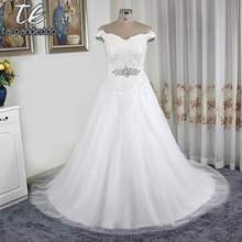 Off the Shoulder Silver Lace Applique Ball Gowns Plus Size Tulle Wedding Dress 26W Customized Made Bridal Gowns(China)