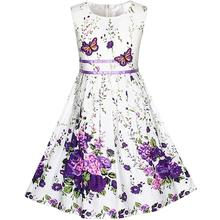 Sunny Fashion Girls Dress Purple Butterfly Flower Sundress Party Cotton 2017 Summer Princess Wedding Dresses Clothes Size 4-12