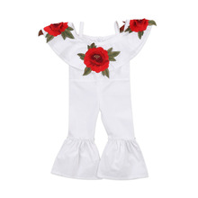 New Fashion Toddler Kids Girl Clothes Summer Off Shoulder Strap Embroidered  3D Rose Flower Romper Jumpsuit Clothing for 1-6Y