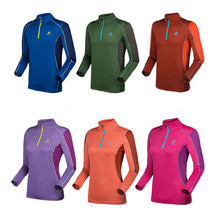 2017 NEW Women Men's Summer Long Sleeve Tees With Zipper Hot T-Shirts Outdoor Quick dry Hiking Sports Clothes RW016(China)