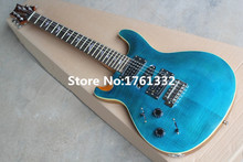 Hot sale factory custom blue left handed electric guitar  with flame maple veneer,HSH pickups,double switches,can be customized