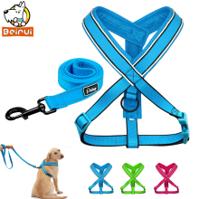 Reflective Dog Harness Leash Set Nylon Breathable Mesh Vest Leads Sets for Small Medium Large Dogs Pitbull Rose Blue Green(China)