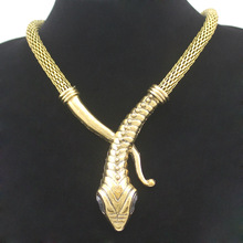 Vintage Gold Silver Egyptian Cleopatra Snake Serpent Mesh Chain Crystal Gem Eyes Statment Colar Choker Bib Maxi Necklace Jewelry