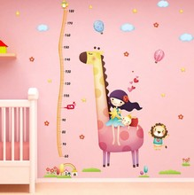 Long Hair Girl and Cartoon Giraffe Children Height Measuring Vinyl Wall Stickers Kids Rooms Home Decor Living Sofa Wall Sticker(China)