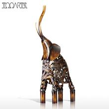Tooarts Metal Weaving Elephant Figurine Iron Figurine Home Decor Crafts Animal Craft Gift For Home Office(China)
