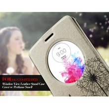 Fundas for LG G3 S D722 D725 D728 Leather Cases Window View Leather Stand Phone Cover Perfume Smell for LG G 3 Beat Shell 5.0""