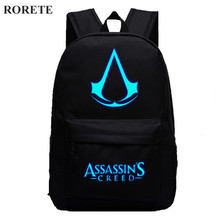 Assassin's Creed Luminous Printing Backpack Glow Bags 5 Colors Canvas Printing School Bags For Teenagers Backpack