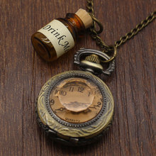 Vintage Glass Alice In Wonderland Drink Me Bottle Dark Brown Quartz Pocket Watch for Women Lady Girl Gift(China)