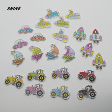SHINE Wooden Sewing Button Scrapbooking Machinery Mixed Two Holes 12PCs Costura Botones Decorate bottoni botoes