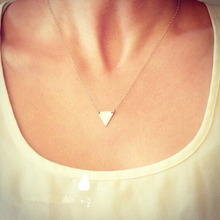 Silver plated chain simple necklace beautiful double chain metal triangle pendant nacklace & wedding accessories jewelry