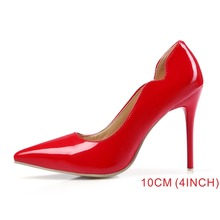 Brand New Fashion Red White Women Nude Formal Pumps Ladies Bridal Shoes High Gladiator 4 Inch Heels EM12 Plus Big Size 10 43 47(China)