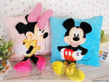 2016 Hot Sale 3D Mickey Mouse and Minnie Mouse Plush Pillow Anime Cartoon Mickey and Minnie Plush Toys Kids Gift