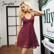 Buy Simplee Sexy v neck strap lace dress women Elegant wine red mini party dresses female Autumn winter fashion robe femme vestidos for $18.99 in AliExpress store