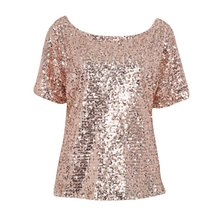 Women Lady Sequin Stitching Tops Blouse Fashion Bling 3/4 Sleeve Shirt Tops Summer Shirt Women Clothing H82(China)