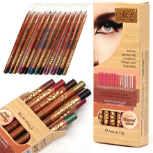 12 Colour Beauty Eye Shadow Woodiness Pencil Makeup Cosmetic Set beauty hot fashion drop shipping2017 n11(China)