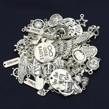 50pcs/lot Mixed Tibetan Silver Plated Heart Angel Charms Pendants Jewelry Making Findings Diy Handmade Accessories(China)