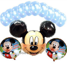 XXPWJ new  13pcs / lots Foil Balloons Mickey suit children's toys birthday party decorations dot latex balloons wholesale X-040