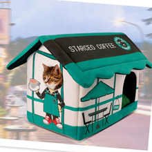 Cute club cat dog pet bed house Soft luxury small dog puppy Bed kennel nest indoor winter warm dog puppy cave house cushion mat