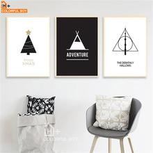 COLORFULBOY Black White Wall Art Canvas Prints Posters Nordic Christmas Tree Canvas Painting Wall Pictures For Living Room Decor