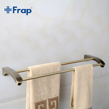 Frap Retro Style Wall Mounted Bronze Surface Double Towel Bars Bathroom Towel Hanger Bathroom Accessories Towel Rack F1409(China)