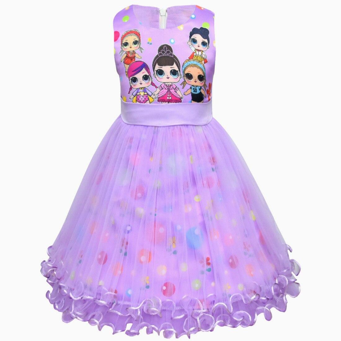 Kids Girls Sleeveless Backless Ruffles LOL Surprise Doll Party Princess Dress