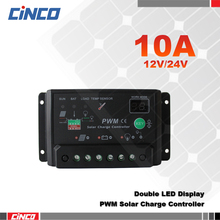 10A 12V/24V solar charge controller ,double LED lighting display with time and lighting control for 12V solar panel(China)