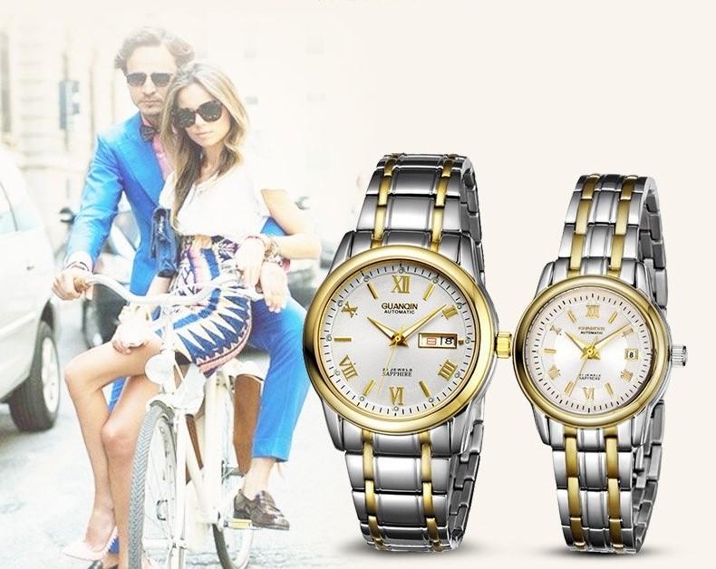 1 Pair GUANQIN Lovers Mechanical Watches Couple Automatic Watch Men Women Clock Auto Date Luminous Waterproof Brand Watch Men (1)