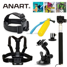 6in1 Accessories Kit Chest/Head Belt Mount Auto Suction Cup +Handle Monopod + Tripod Mount +Screw For GoPro 2 3 3+ 4 SJ4000