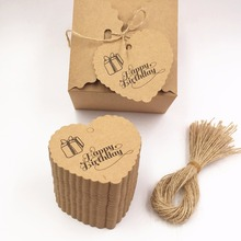 100pcs Brown Heart Design Kraft Paper Tags Luggage Price Favor Place Cards Happy Birthday Tags+100pcs strings(China)