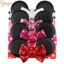 Boutique Mickey Ears Headband,4'' Sequin Bow Headband For Girls And Kids Glitter Metallic Dot Minnie Headband Hair Accessories