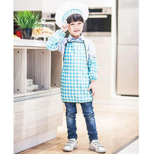 Plaid Polyester Kids Chef Apron Set Child Cooking Painting Costume Apron  Kitchen Apron