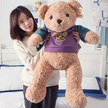 Large Animals doll 85cm Cartoon Violence Bear Stuffed Plush Toy dolls Soft Teddy Bear In Sweater T-shirt Halloween Children Gift(China)
