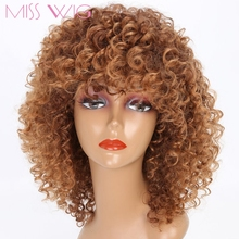 MISS WIG Blonde Kinky Curly Short Wigs For Black Women Synthetic Afro Wig High Temperature Fiber None Lace African Hairstyle